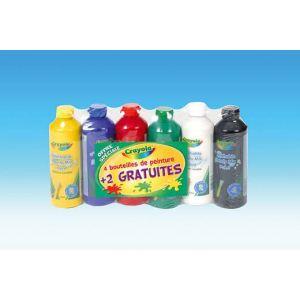 Crayola 6 bouteilles de peinture lavable (250ml)