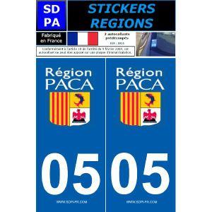 """SDPA SR05 - 2 autocollants pour plaque d'immatriculation """"Département 05 - Région PACA"""""""