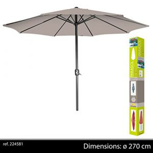 Sunnydays Parasol droit Ø270cm taupe mât en aluminium avec manivelle