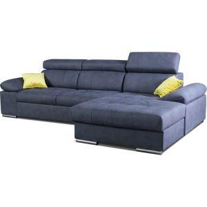 Comforium Soldes - Canapé d'angle convertible design avec méridienne droite en tissu bleu foncé