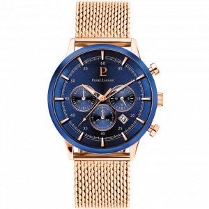 Pierre Lannier Montre 226D468 - Chronographe Acier Milanais Doré Rose Cadran Bleu Homme