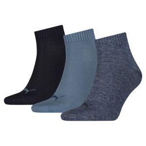 71722aa2a2043 Puma Lot de trois paires de chaussettes unies trois-quarts pour Femme, Bleu,