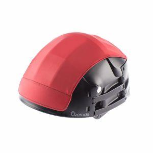 Overade Cache de protection amovible imperméable utilisable sur casque pliable Plixi pour vélo, trottinette électrique, overboard, gyroroue, gyropode, skateboard, roller, VAE %u2013 Protège du froid et de la pluie %u2013 Couleur rouge %u2013 Taille L-XL