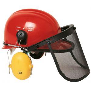Euro Protection Casque forestier rouge avec antibruit serre casque relevable grille amovible : 60790