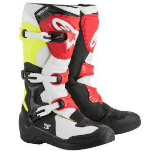 Alpinestars Tech 3 Black White Yellow Fluo Red 2018 - Bottes cross