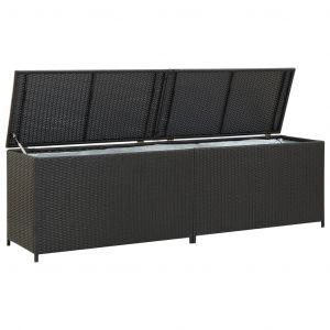VidaXL Boîte de rangement de jardin Résine tressée 200x50x60 cm Noir