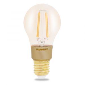 Marmitek GLOW MI Ampoule Smart WiFi LED-E27-650 Lumen-6 W=40 W-A60-Filament Rétro – 60x118 mm-Graduable par l'app-Compatible avec Alexa, Google Assistant-Aucun hub requis, Gold