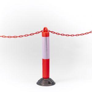 Mottez Poteau de signalisation sur base flexible avec anneau passe chaîne M018S80