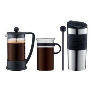 Bodum K10948-01 - Set cafetière à piston Brazil avec 3 tasses + mug de voyage