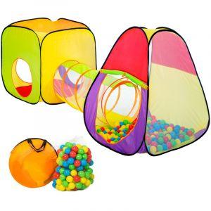 TecTake Tente cubique pour enfants avec tunnel + 200 balles + sac - tente de jeu
