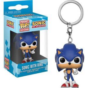 Funko Sonic with Ring Pocket Pop Keychain, 20289, Multi, 4 cm