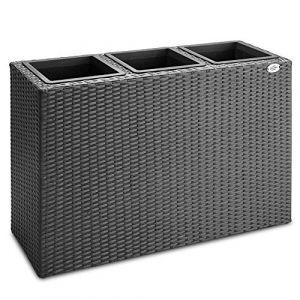 Deuba   Bac à Fleurs • polyrotin Noir • 3 Compartiments • 83x30,5x60 cm   Pot Fleurs, bac Vertical, intérieur, extérieur