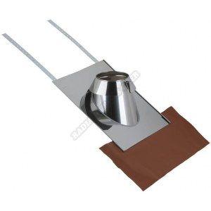 Poujoulat Solin inox 15° à 30° tuile 150 (y compris kit plomb) pour conduits spéciaux gaz sorties de toit rondes diamètre 150 ou 155