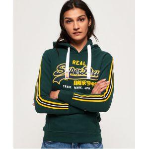Superdry Sweat à capuche avec logo appliqué Vintage - Couleur Vert - Taille 40
