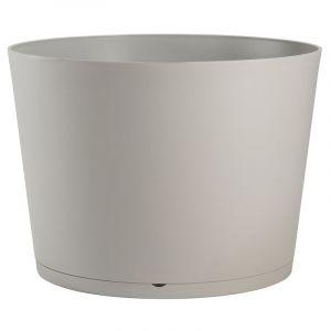 Grosfillex Pot de fleur design Tokyo 36 Diam.36 H.26 - Gris Beige - Extérieur - Soucoupe amovible intégrée
