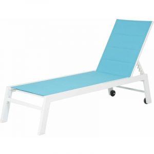 Happy Garden Bain de soleil BARBADOS en textilène bleu - aluminium blanc Bleu