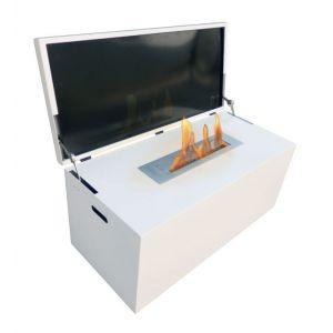 Purline Table de salon avec cheminée bio éthanol escamotable