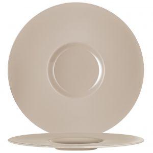 Chef & Sommelier Assiette plate ronde en porcelaine taupe 31cm - Moon