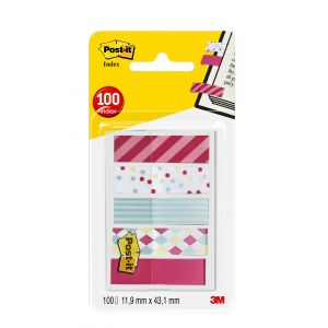 Post-It Lot de 100 marque-pages - POST- IT - 11,9x43,2 mm - 5 motifs carnaval