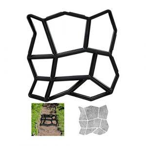 Relaxdays Moule en béton pour la fonte de plaques de marche; en forme de pierre pour aménaement personnalisé du jardin.