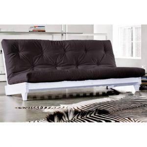 Inside75 Banquette lit blanc futon FRESH grey graphite 3 places convertible couchage 140*200cm