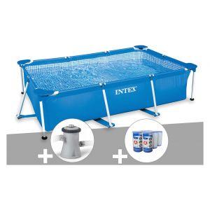 Intex Kit piscine tubulaire rectangulaire 3,00 x 2,00 x 0,75 m + Filtration à cartouche + 6 cartouches de filtration + Bâche de protection