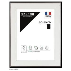 Brio Cadre Photo Newton (résine) 60x80 Blanc Laqué - Côtés Noir Acier