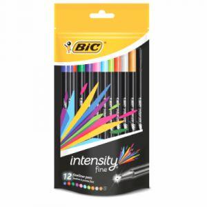 Bic Intensity - Feutres d'écriture - Pochette de 12 couleurs vives