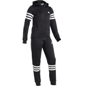 Adidas YG Hood PES TS Survêtement Fille, Noir/Blanc, FR : S (Taille Fabricant : 7-8Y)