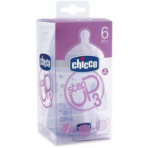Chicco Biberon Step Up 3 en polypropylène 330 ml avec tétine en silicone flux repas (6 mois +)
