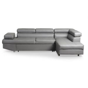 LesTendances Canapé d'angle droit convertible avec têtières relevables simili cuir gris Lanzo