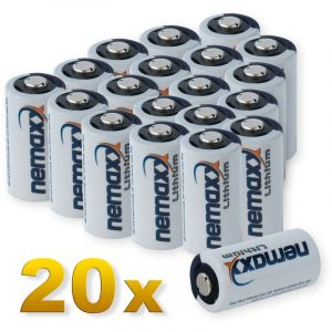 Nemaxx 20x 3V Photo Lithium Batterie im Blister CR123A Photobatterie 1700 mAh