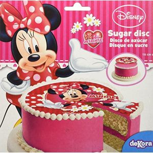 Image de Disque de décoration en sucre Minnie 16 cm