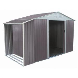 Habitat et Jardin Abri de jardin métal Dallas 5,29 m² avec abri bûche