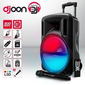 "My deejay Enceinte sono mobile karaoke 12"" 500W à LEDs RVB - USB/SD/BLUETOOTH + Micro sans fil"