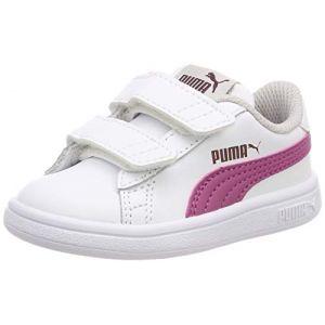 Puma Smash V2 L V Inf, Sneakers Basses Mixte Enfant, Blanc White-Magenta Haze-Fig-Gray Violet 08, 27 EU