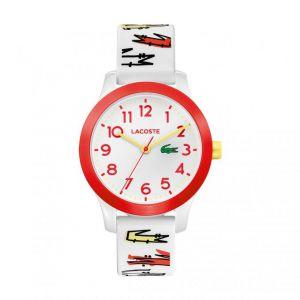 Lacoste Montre 2030018 - Junior boitier tr90 (résine infusée de nylon) blanc rond cadran blanc bracelet silicone blanc avec imprimés