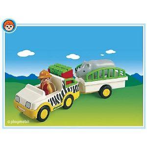 Playmobil 6743 - 1.2.3 : Gardien de zoo et véhicule
