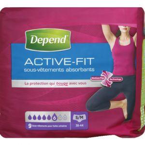 Depend Active Fit culotte femme S/M - Le paquet de 9