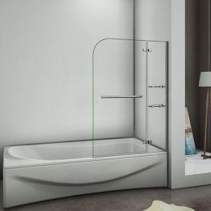 AICA Sanitaire Pare baignoire 90x140cm verre anticalcaire écran de baignoire avec les étages en verre securit