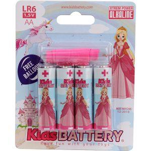 Kidsbattery 4 piles AA/LR06 alkaline pincesses
