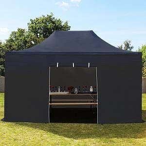 Intent24 Tente pliante 3x4,5 m sans fenêtre noir PROFESSIONAL tente pliable ALU pavillon barnum.FR