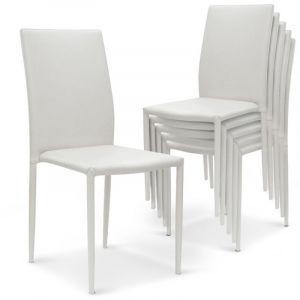 Declikdeco Lot de 6 Chaises Empilables Blanc PRIYA