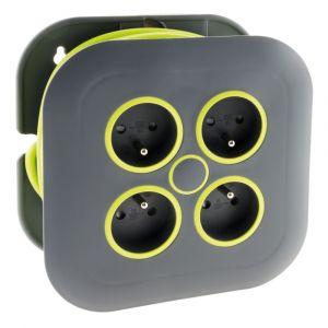 Zenitech Enrouleur domestique 4 prises 2P+T 16A + coupe-circuit - Gris/Vert