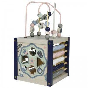EverEarth Jouet en bois Mon Premier Cube d'Activité Pastelles - Jouets d'éveil