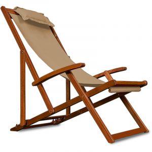 Deuba Chaise camping plage - pliante bois Beige - chaise pliable - Acacia coussin