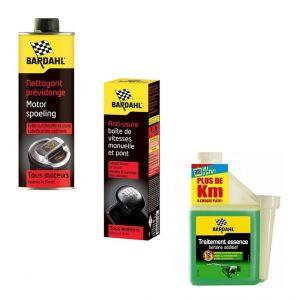 Bardahl Pack entretien Nettoyant prévidange Anti-usure boite Traitement essence