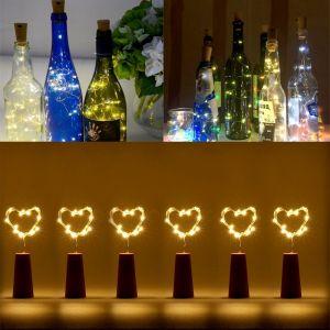 WeWoo Guirlande pour Partie / Vacances, Longueur: 90cm, DC 6V 6 PCS 18 LED Étanche Mini Bouteille de Vin Liège Cuivre Fil Corde Lumière Starry Fée Blanche Chaude