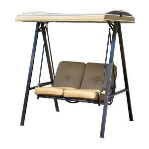 Homcom 01-0891 - Balancelle balançoire 2 places en acier avec toit