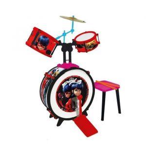 Reig Musicales Batterie et tabouret Miraculous Ladybug (Grosse caisse, deux tambours, bongo, cymbale, baguettes professionnelles)